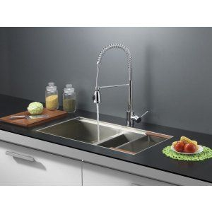 Ruvati RVC2386 Combo Stainless Steel Kitchen Sink and Chrome Faucet Set