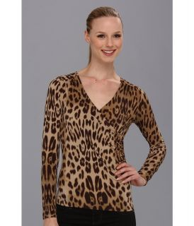 Anne Klein Leopard Print Wrap Front Top Womens Long Sleeve Pullover (Beige)