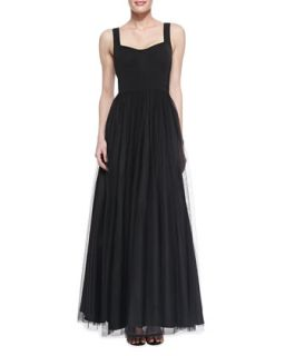Womens Sleeveless Sweetheart Tulle Ball Gown, Black   Aidan Mattox