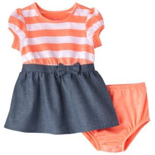 Cherokee Newborn Infant Girls Short Sleeve Dress Set   Orange/Chambray 0 3 M