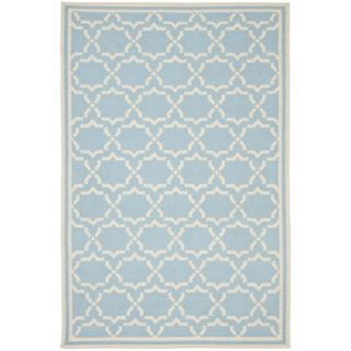 Safavieh Hand woven Moroccan Dhurrie Light Blue/ Ivory Wool Rug (9 X 12)