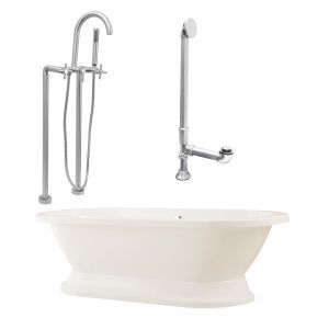 Giagni LC2 C BN Capri Tub with Plinth, Drain, Supply Lines, & Floor Mount Faucet