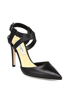 Elysia Leather Ankle Strap Pumps   Black