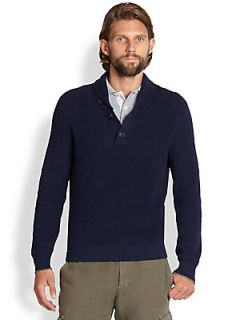 Brunello Cucinelli Ribbed Cotton Sweater   Navy