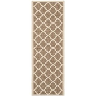 Safavieh Indoor/ Outdoor Courtyard Brown/ Bone Rug (23 X 10)
