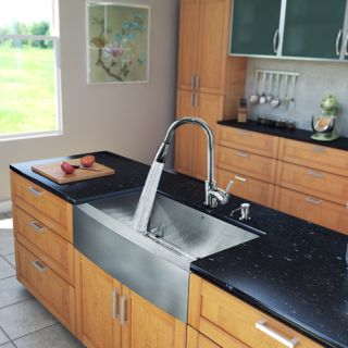 Vigo Industries VG15204 Kitchen Sink Set, All In One 33 Farmhouse Sink amp; Faucet Stainless Steel/Chrome