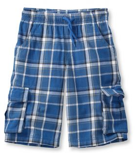 Boys Cotton Twill Cargo Shorts, Plaid Little Boys