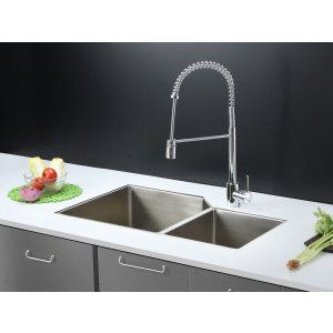 Ruvati RVC2351 Combo Stainless Steel Kitchen Sink and Chrome Faucet Set