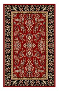 Lyndhurst Collection Red/ Black Rug (53 X 76)