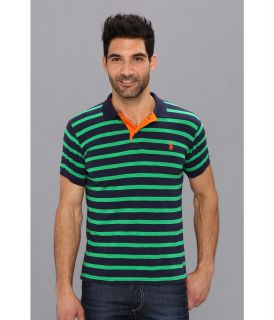 U.S. Polo Assn Stripe Slub Polo Mens Short Sleeve Knit (Green)