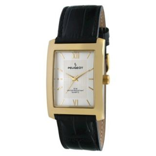 Mens Peugeot Gold tone Silver Dial Leather Strap Watch   Black