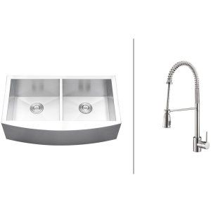Ruvati RVC2466 Combo Stainless Steel Kitchen Sink and Chrome Faucet Set