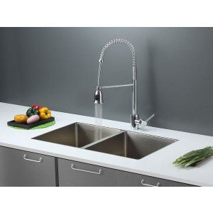 Ruvati RVC2316 Combo Stainless Steel Kitchen Sink and Chrome Faucet Set