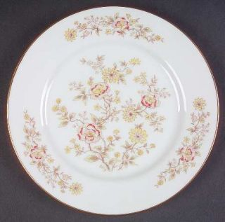 Royal Prestige Teahouse Bread & Butter Plate, Fine China Dinnerware   Tan/Red&Pi