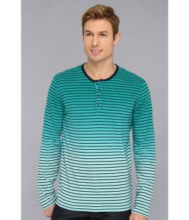Lucky Brand Dip Dye Henley Mens Long Sleeve Pullover (Blue)