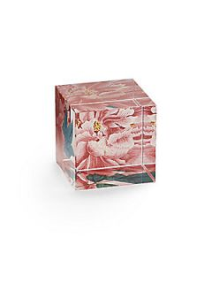 Peony Glass Cube Paperweight   No Color