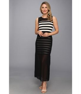 Vince Camuto Chiffon Overlay Cafe Stripe Maxi Dress Womens Dress (Black)