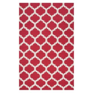 Fretwork Flat Weave Area Rug   Red (5x8)