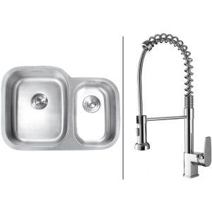 Ruvati RVC1501 Combo Stainless Steel Kitchen Sink and Chrome Faucet Set