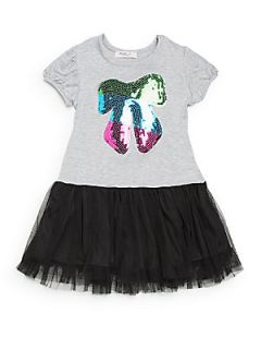 Toddlers & Little Girls Sequin Bow Dress   Heather