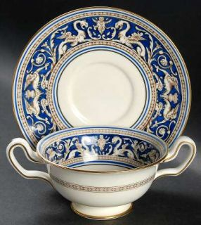 Wedgwood Florentine Blue No Center,Gold Trim Footed Cream Soup Bowl & Saucer Set