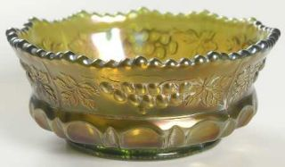 Northwood Grape & Cable Green Small Fruit Dessert Bowl   Green Carnival Glass