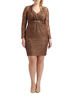Lace Embellished Waist Dress   Brown