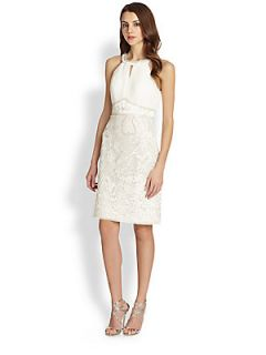 Sue Wong Embroidered Halter Style Dress   White