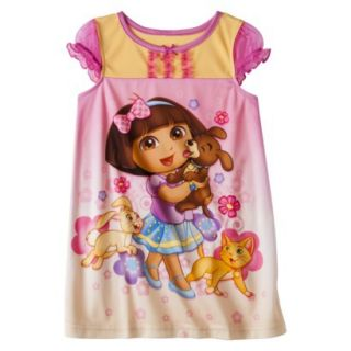 Dora the Explorer Toddler Girls Short Sleeve Nightgown   Pink 2T