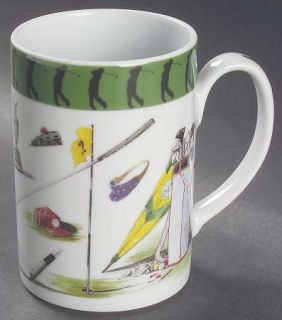 Vista Alegre Sport Golf Mug, Fine China Dinnerware   Green Band, Golfing Objects