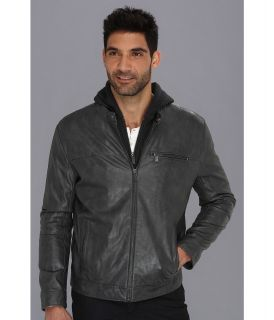 Kenneth Cole Reaction Faux Leather Hipster with Hood Mens Coat (Gray)