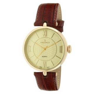 Peugeot Large Dial Leather Strap Watch   Gold/Brown