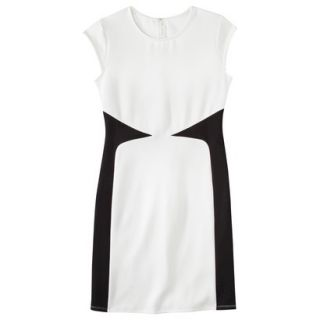 Mossimo Womens Colorblock Scuba Dress   White/Black L