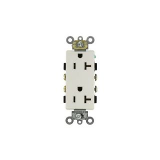 Leviton 16342W Electrical Outlet, Decora Plus Duplex Receptacle 20A, Commercial Grade, Self Grounding White