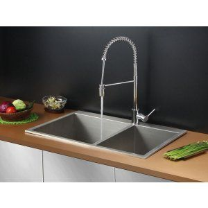 Ruvati RVC2401 Combo Stainless Steel Kitchen Sink and Chrome Faucet Set