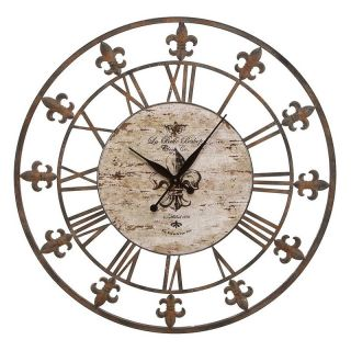Aspire Home Accents Wrought Iron Fleur De Lis 36 in. Wall Clock Multicolor