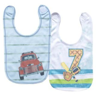Clever Birds 2pk Reversible Bib Set   Red Truck Snapshots, Number 7 Funtime