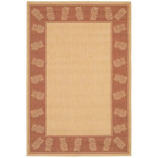 Couristan Recife Tropics Indoor/Outdoor Area Rug   Natural/Terra Cotta