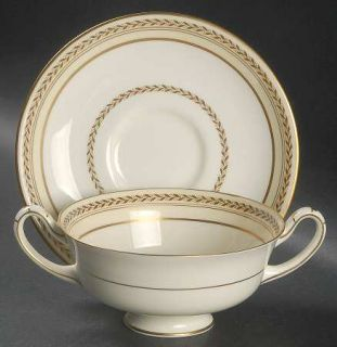 Royal Doulton Repton, The (Gold Trim) Footed Cream Soup Bowl & Saucer Set, Fine