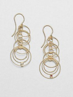 Roberto Coin Diamond & 18K Yellow Gold Hoop Drop Earrings   Gold