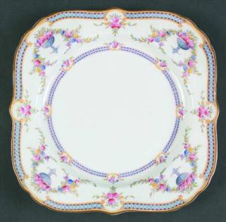 Royal Worcester Rosemary Sky Blue/White Square Luncheon Plate, Fine China Dinner