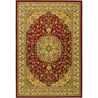 Lyndhurst Collection Red/ Ivory Rug (8 X 11)