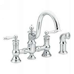 Moen S713 Waterhill Two Handle Kitchen Faucet with Side Spray
