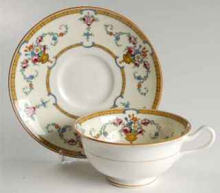 Royal Cauldon Sledmere (White Background) Footed Cup & Saucer Set, Fine China Di