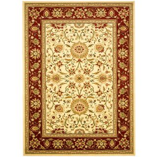 Lyndhurst Collection Majestic Ivory/ Red Rug (53 X 76) (IvoryMeasures 0.375 inch thickTip We recommend the use of a non skid pad to keep the rug in place on smooth surfaces.All rug sizes are approximate. Due to the difference of monitor colors, some rug