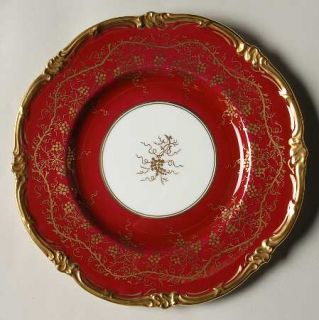 Royal Cauldon KingS Plate Cranberry Salad Plate, Fine China Dinnerware   Gold G