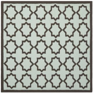 Safavieh Hand woven Moroccan Dhurrie Light Blue/ Chocolate Wool Rug (8 Square)
