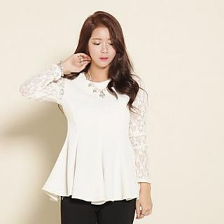 Womens Round Collar Polyester/Lace Long Sleeve Shirt