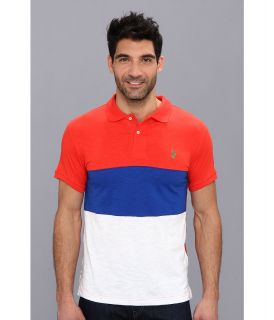 U.S. Polo Assn Wide Stripe Slub Polo Mens Short Sleeve Knit (Red)