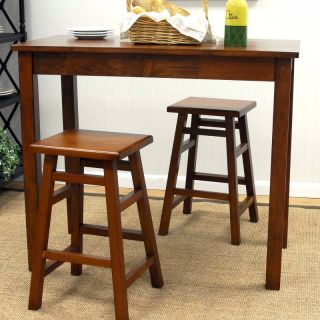Carolina Chair and Table Co Tavern 3 Piece Walnut Pub Table Set   with Tavern